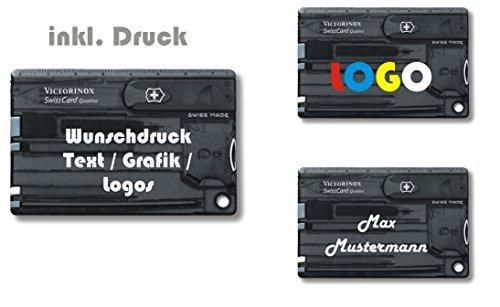 Victorinox SWISS CARD QUATTRO Taschenmesser mit persönlichem Wunschtext Druck Motive Slogen Logos mehrfarbig personalisiert auf dem Etui Schriftzug Grafik Digitaldruck Nr. 0.7200 (schwarz transparent)