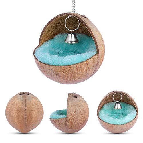 Luckycao Vogel-Nest - Hang Natürliche Kokosnuss-Shell-Vögel Haus Hütte Zucht Nesting Hamster Bett - Coconut Nest mit weichen Matte for Hamster Ratten-Vogel-Spielzeug