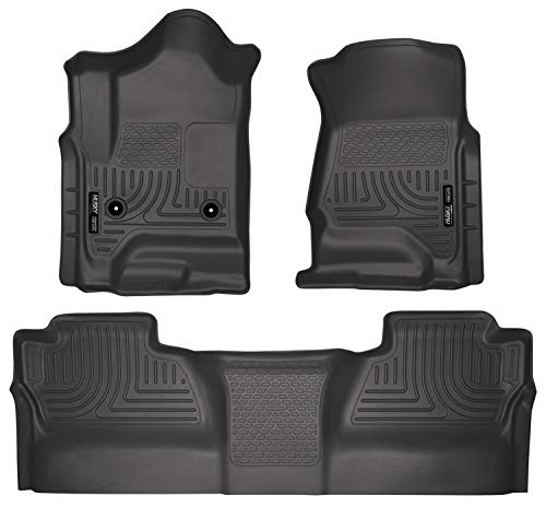Husky Liners 98231 Black Weatherbeater Front & 2nd Seat Floor Mats (Footwell Coverage) Fits 2014-18 1500, 2015-19 Chevrolet Silverado/GMC Sierra 2500/3500 Crew Cab