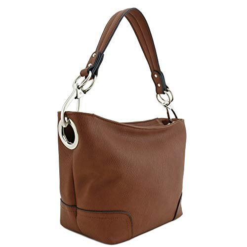 Hobo Shoulder Bag with Snap Hook Hardware Small (Brown)