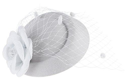 DEMU Damen Elegante Blume Fascinator Haarklammer Hochzeit Cocktail Netzschleier Mini-Hut Weiß