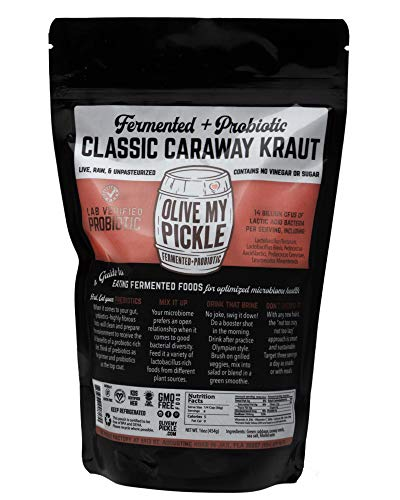 Olive My Pickle Fermented & Probiotic Sauerkraut for Gut Health - CLASSIC CARAWAY KRAUT (Pack of 1, 16 oz)