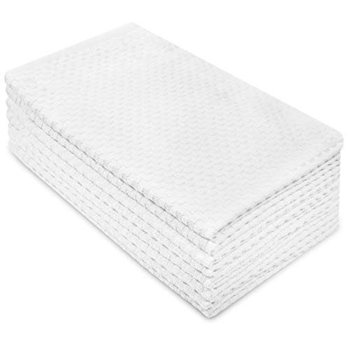 COTTON CRAFT Euro Café Set of 8 Waffle Weave Pure Cotton Super Absorbent Multipurpose Kitchen Towels, Dishcloths, Tea Towels, White