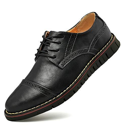 Brogue Oxford con Cordones,Zapatos de Cuero Hombre Negocios Vestir Derby Informal Boda Calzado Mocasines Zapatos Casuales Holgazanes (42.5 EU, Negro 1)