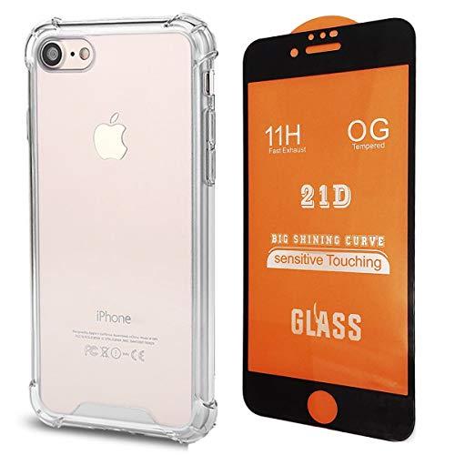 NETONBOX.COM Funda Acrigel Airbag Transparente 2 en 1 para iPhone 7 / iPhone 8 + Mica Cristal Templado Premium 21D 11H Bordes Negros