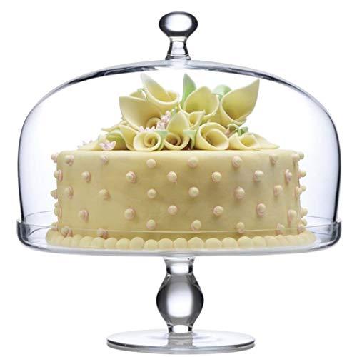 PETAAA glazen koepel met dienblad, hoge taartstandaard verjaardagsfeestje vitrine salade sandwichkoepel huishoudelijke lade diameter 27CM