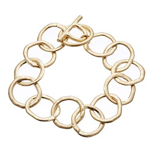 Pulsera de bar T chapada en oro mate con círculos de conexi