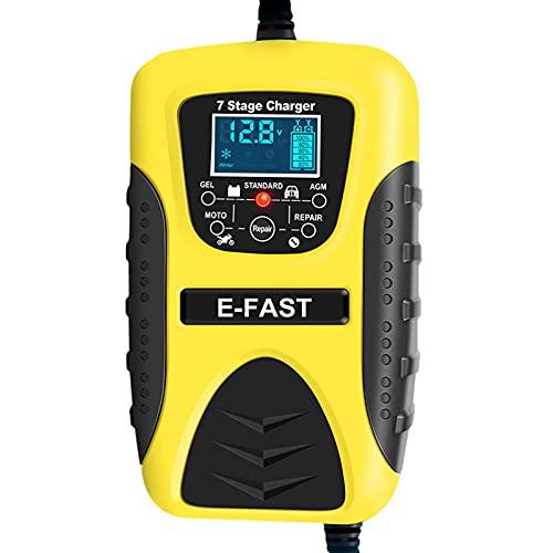 Cargador de batería para coche, 12 V, 7 A, de plomo ácido, pantalla LCD, cargador de batería inteligente con 7 niveles para coche, moto, cortacésped, barco, SUV, etc.