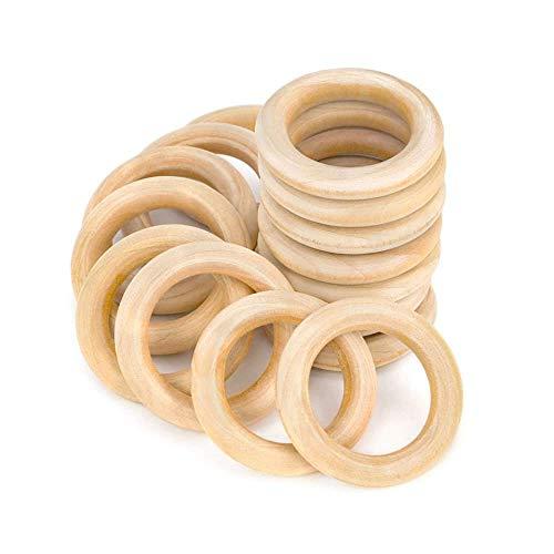 RUBY - 30 Aros de madera natural para manualidades, aros de madera para artesanías (Ø 40 mm)