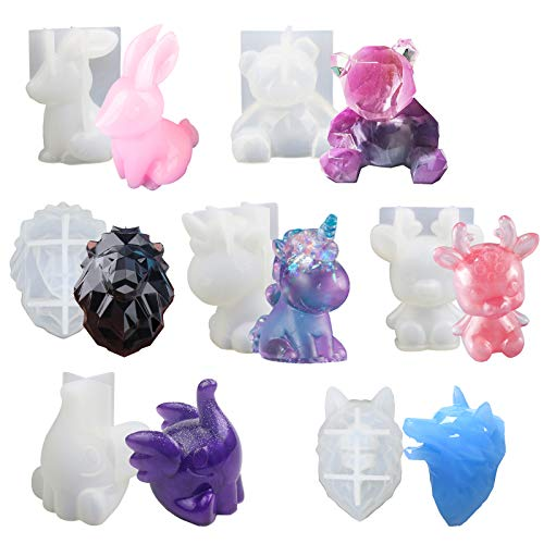 7PCS Animal Resin Molds, LETS RESIN Epoxy Resin Silicone Molds, Unicorn Resin Casting Molds for Handmade Candle, Resin Crafts DIY