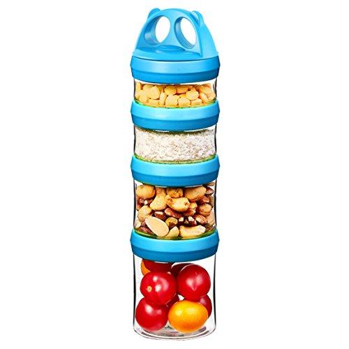 Tritan Recipientes Comida, Hermeticos contenedor alimentos, Cerradura de la torcedura 4 piezas Apilable, 100{4c41e729405dc5103730acdcc8e3b6ac8a72c880c1150be013a5a2fab532f300} sin bpa, Prueba de fugas, Caja Fuerte para microondas, Congelador, Lavavajillas, 0.91 L