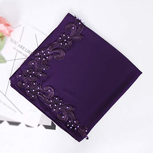 TLXOZ Reinfarbig Besticktes HUI Chiffon-Damenkopftuch Mit Nagelperlen Und Quadratischen Schals