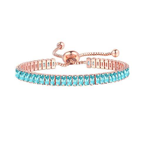 Sylar Pulsera de circonita para Mujer, Deslizador Ajustable,Collar de Piedras Preciosas, joyería de Moda, Regalo de Boda para el Día de San Valentín