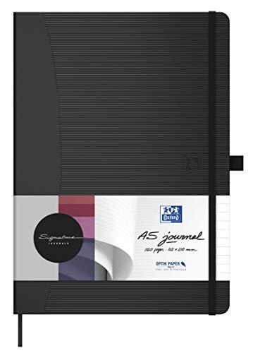Oxford Notizbuch Signature A5 blanko 80 Blatt 90 g/m² schwarz mit gummierter Oberfläche SCRIBZEE kompatibel für Büro Schule oder als Geschenk
