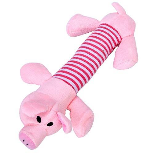 Pet Dog Cat Funny Fleece Plush Dog Toy Squeak Chew Sound Toy Pig Plush Toys,Pink