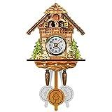 BIUDUI Reloj de cuco de madera, reloj de pared de cuarzo con...