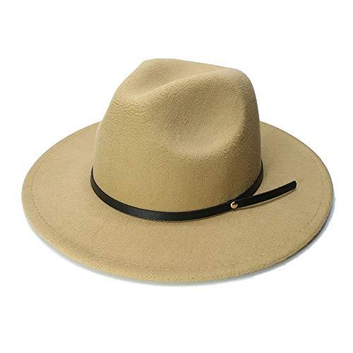 Duyani Lana Pork Pie Boater Jazz Top Hat for Mujeres de Fieltro de ala Ancha Sombrero de Fedora Gambler (Color : Caqui, Size : 56-58cm)