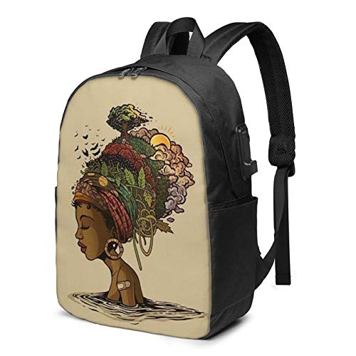 XCNGG Abstract African Woman Headdress Business Laptop School Bookbag Travel Backpack with USB Charging Port & Headphone Port Fit 17 in