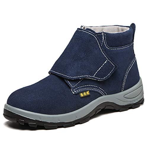 Zapatos de seguridad Botas soldadores del cuero del ante de soldadura de seguridad con cubierta protectora de diseño, de acero del dedo del pie zapatos de casquillo y media suela de acero trabajo del