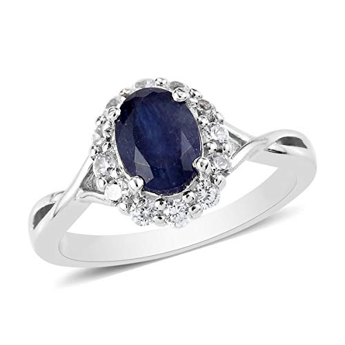 TJC Blue Sapphire Halo Ring for Women in Platinum Plated 925 Sterling Silver Anniversary Jewellery Size R with Cambodian Zircon, TCW 1.48ct