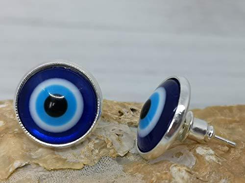 Ohrschmuck Glas Cabochon Ohrstecker - Nazar Boncugu (Türkisches Auge) Talisman - Nazar-Amulett