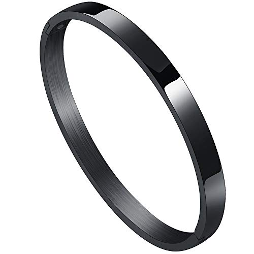 Stainless Steel Classical Simple Plain Blank Open Clasp Bangle Bracelet (Black, 6)