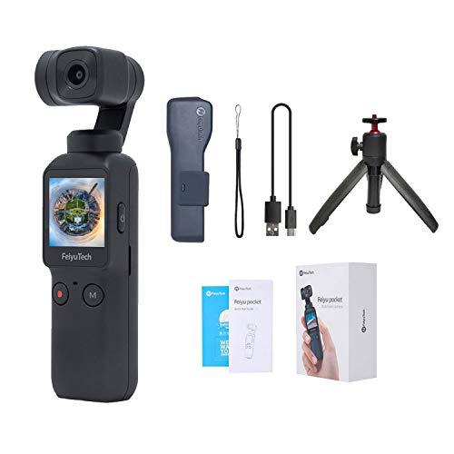 Feiyu Pocket Gimbal Camera 3-Achsen-Gimbal-Stabilisator mit 4K-Smart-Kamera, 6-Achsen-Hybridstabilisierung, 120 ° Ultra-Weitwinkel, 8X Zeitlupenvideo, 4K / 60fps-Video, mit ausziehbarem Stativ