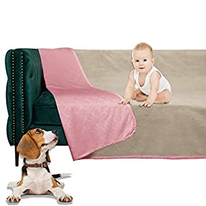 W-ZONE Waterproof Dog Bed Cover Pet Blanket for Furniture Bed Couch Sofa Reversible (8282, Pink+Beige)