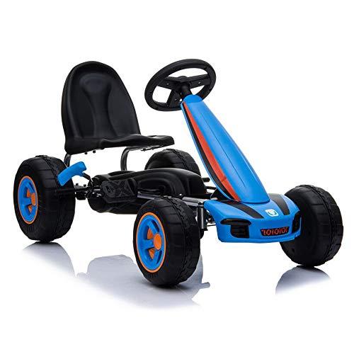 Moni Kinder Gokart Fever, Tretauto ab 3 Jahren, Kunststoffreifen, Handbremse, Farbe:blau