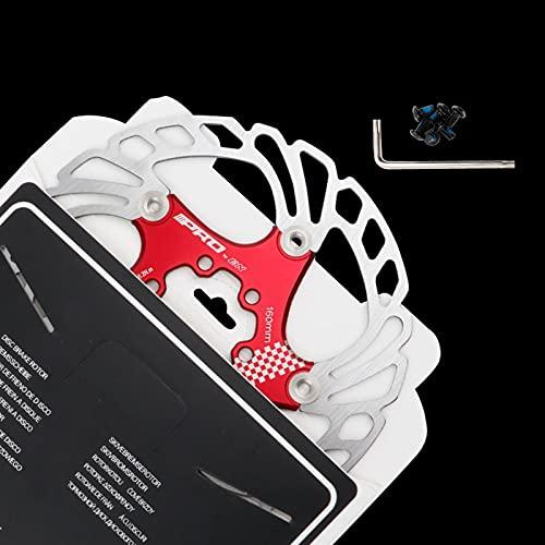 Disco de Freno de Disco de Bicicleta, 140/160/180/203mm Bicicleta de montaña Flotante Disco de Freno Centro de Bloqueo Accesorios de Bicicleta, Unisex, Estándar,Red,160MM