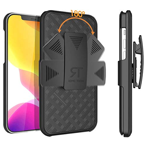 Rome Tech Holster Case with Belt Clip for Apple iPhone 12 Pro Max ONLY - Slim Heavy Duty Shell Holster Combo - Rugged Phone Cover with Kickstand Compatible with iPhone 12 Pro Max - Black