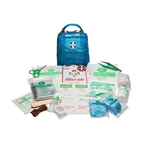 Kurgo Trousse de Secours RSG pour les Chiens, Kit 1ers soins Complète, Accessoire de Harnais Compatible Molle personnalisable, étanche, compacte, Bleu
