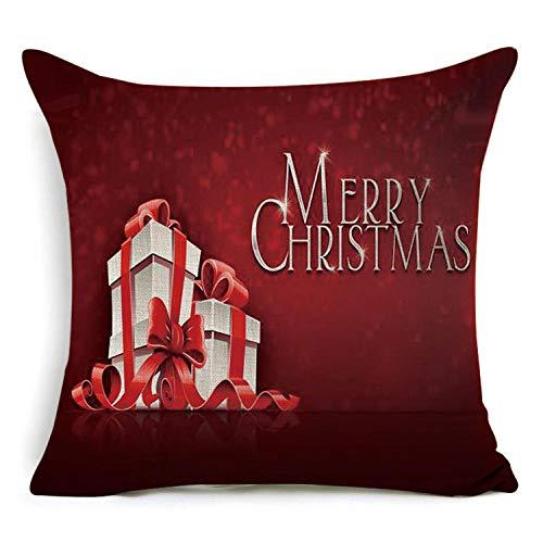 ouyalis Cushion Covers 1 piece 43 * 43cm Santa pattern cotton linen throw pillow cushion cover car home sofa decorative pillowcase-J