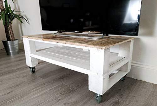 Mesa de Palets Pintada en Color Blanco - Madera Mesitas & Mesas Modernas para TV & Tele & Televisión - Muebles De Palets (Mesa 7)