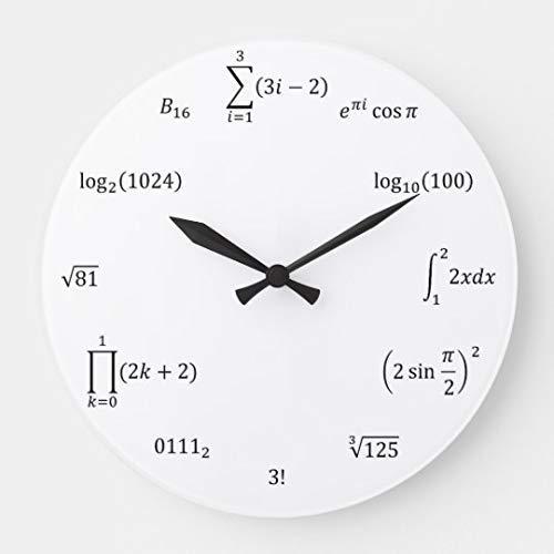 AmyyEden - Reloj de pared con ecuaciones matemáticas y notas, reloj de madera decorativo grande de 12 pulgadas, regalo para mujer