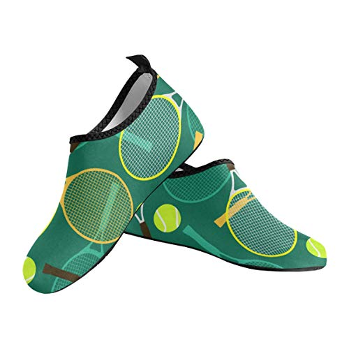 Tennis Ball and Racket Custom Fashion Design Slip-On Water Shoes for Women Girls