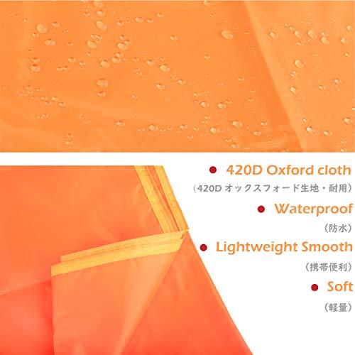 Azarxisテントシートレジャーシートピクニックマット折りたたみ式ブランケット両面防水天幕収納バッグ付き4~6人に適用超軽量(S/M/L)(オレンジ,S(150x200cm))
