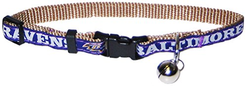 COLLAR for CATS - NFL BALTIMORE RAVENS CAT COLLAR. - Strong & Adjustable FOOTBALL Cat Collars with Metal Jingle Bell