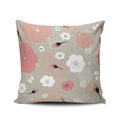phjyjyeu Funda de almohada decorativa para el hogar, diseño de flores y brotes románticos, 61 x 60 cm, cuadrada, funda de cojín de doble cara, impresa (juego de 1) 40,6 x 40,6 cm