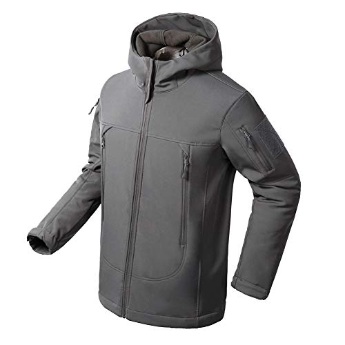 Flying Eagle Tactical Jackets Softshell Fleece Lined Water Repellent Jackets Winter Windproof Coat for Men (XXXX-Large, Gray)