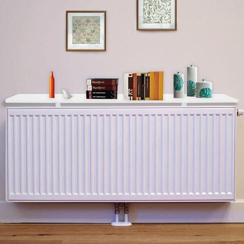 Youyijia Radiator Shelf 60x14.5x1.8cm Radiator Cover Radiator Heater Shelves Cabinet Top Shelf Slatted White Painted Rounded Edges Modern Design Radiator Shelf for Home Radiator