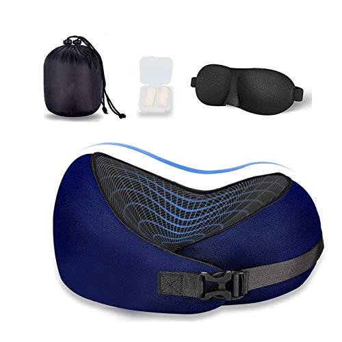 L/G Almohada de viaje de espuma viscoelástica en forma de U para el cuello, cómodo cojín para la cabeza, color azul, 1 unidad