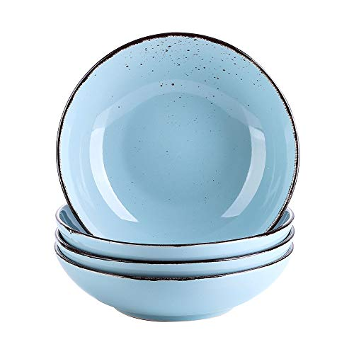 vancasso Suppenteller, Navia 4 teilig Tiefteller bunt aus Steingut, Ø 22 cm, Geschirr Tellerset Suppenschalen