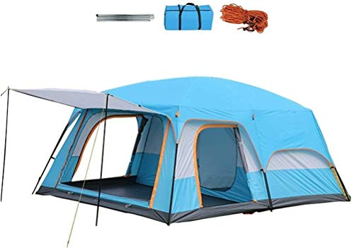 LAZ Tents Oversized Tent Villa Outdoor Camping Thickened Rainproof Awning Large Space for 4-6 People Three Sides Breathable Mesh (Color : Blue, Size : 310 * 210 * 185CM)