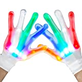 LED Gloves, Flash Finger Lights Up Gloves, Theefun 5 Colors 6 Light Modes LED Rave Gloves for Kids, Cool Party Favor Toys Halloween Christmas Birthday Gifts for 8-14 Years Old Boys Girls, 1 Pair