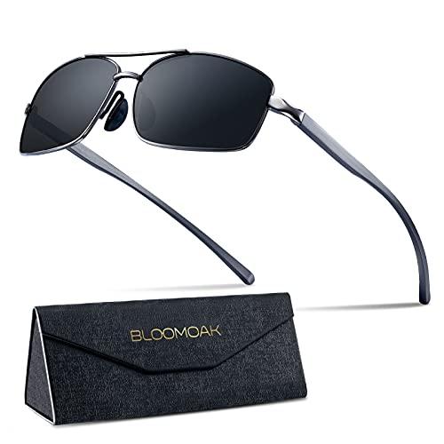 Bloomaok Polarisierte Sonnenbrille Herren Fahren Sonnenbrille 100{486abe14c13ec26ecfcae316e0c176fc1f397bff69b27ebc7586f44d3d56c4d0} UV400 Schutz Polarisierte Outdoor Sportbrille Sonnenbrille mit Classic Al-Mg Metallrahmen (Schwarz)