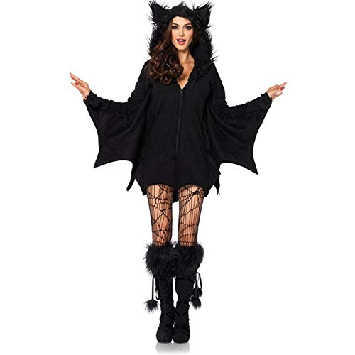 Costour Damen Kostüm für Karneval Halloween Fledermaus Hexe Cosplay Set, Schwarz, S