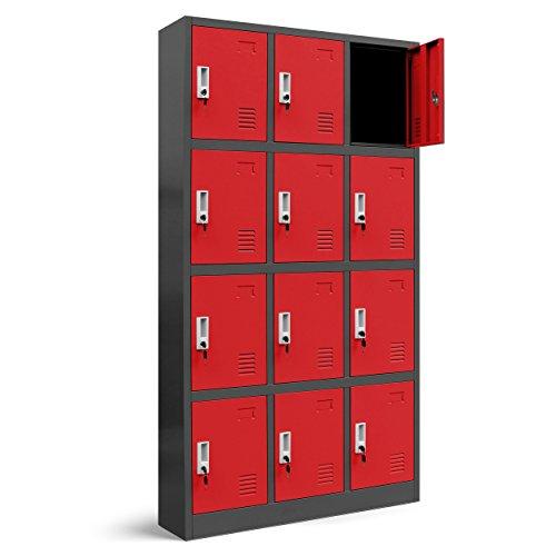 Wertfachschrank 3B4A Fächerschrank Schließfachschrank mit 12 Fächern Metallspind Umkleideschrank Stahlblech Pulverbeschichtung Farbwahl 185 cm x 90 cm x 40 cm (H x B x T) (anthrazit/rot)