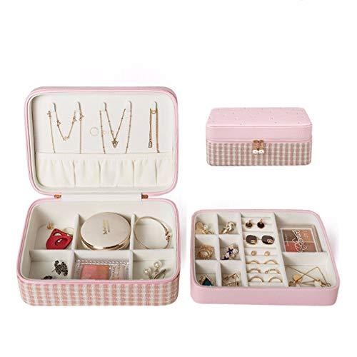 CMNAN Caja De Almacenamiento De Joyas, Mini Joyero Portátil De Múltiples Capas De PU, Partición Múltiple, Utilizado para Anillos, Pendientes, Collares, Pulseras Pink
