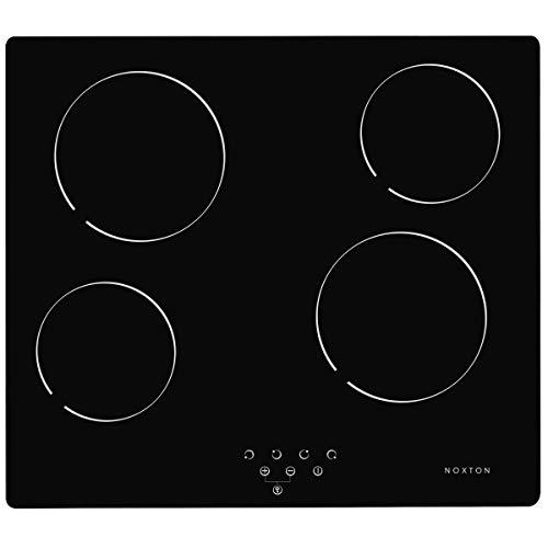 NOXTON Placa Vitrocerámica con 4 Zonas De Cocción Construido en Placas eléctricas de 60 cm Placa Caliente de Cristal Negro Estufa con Sensor de Control táctil Superior [Classe énergétique A +]